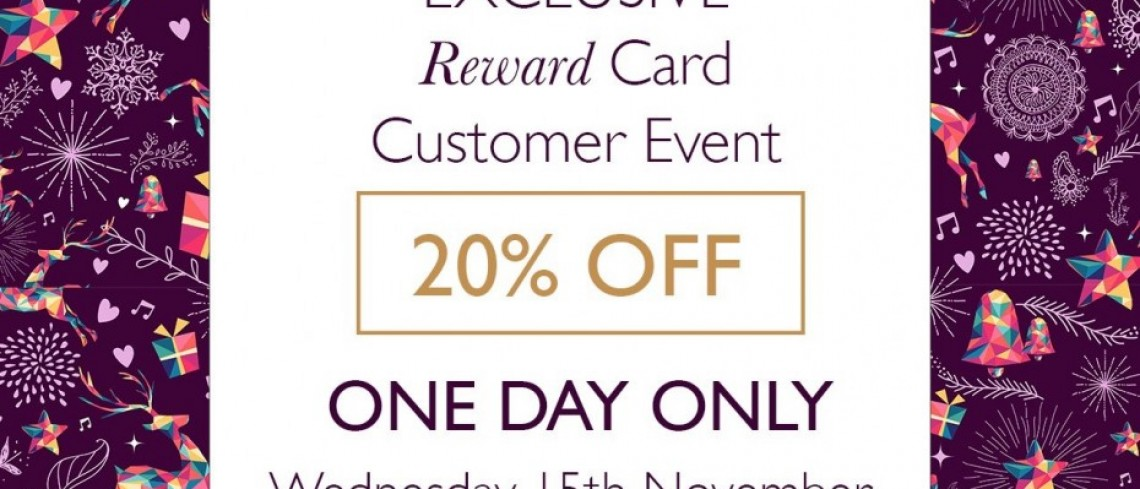 20% off event at Browns for reward card holders