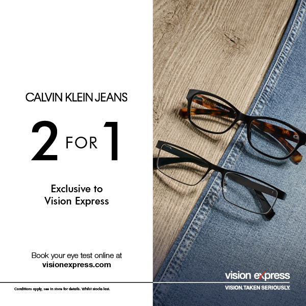 2 for 1 on Calvin Klein Jeans at Vision Express