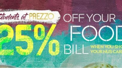 Student Discount available at Prezzo